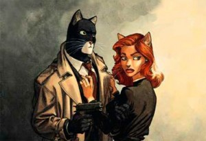 Blacksad, and a cat lady with lipstick...